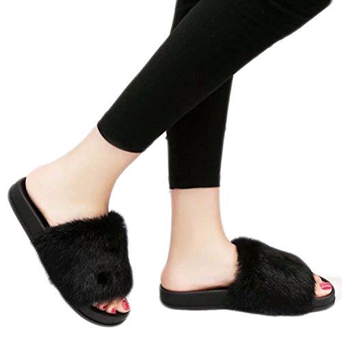 di scarpe beginning sulle in pizzo da Indoor morbido Outdoor aperto da Auspicious aperto Flip pelliccia Flop Nero a donna pelo Scarpe Twqp1AgA