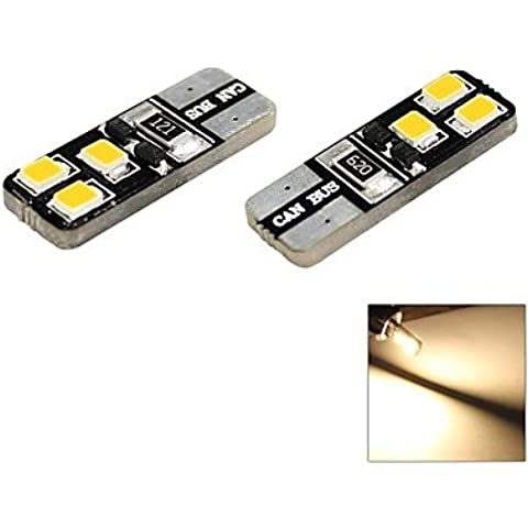 Full moderna bombilla coche de T10 1 W 6 x 2835 SMD LED 60lm 3000 K warm white dome Marker lateral DC 12 V, 2-Pack