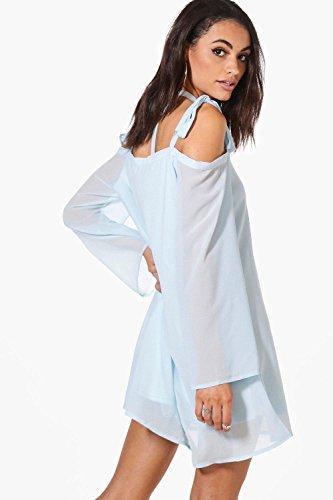 Damen Weiß Rhea Etuikleid Mit Ausgeschnittenen Schultern Und Bindung Weiß