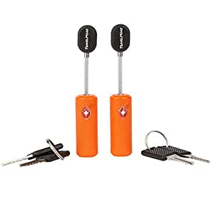 TSA Approved Luggage Locks With Key For Travel – Lock With Keys (1, 2 & 4 Pack) (2 Pack - Orange)