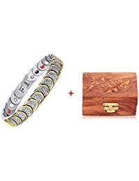 University Trendz Health Care Bio Magnetic Bracelet with Handcrafted Sheesham Wooden Box for Boys and Mens(Silver Plated)