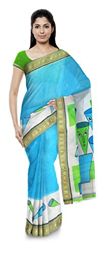 Poushali Boutique Traditional Bengali Handloom Cotton Women's Saree (Blue & Green)