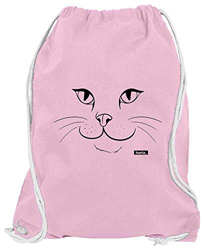 Land Kostüm Katze - HARIZ Turnbeutel Katze Gesicht Tiere Kindergarten Plus Geschenkkarten Rosa One Size