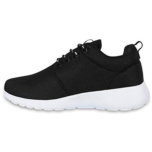 Damen Laufschuhe | Modische Sportchuhe| Sneaker Profilsohle |Glitzer Pailletten Sneakers | Runners Snake Blumen Schwarz Black