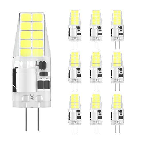 DiCUNO G4 LED Lampe 3W, AC/DC 12 V mit 300 LM, SMD,Ersatz für 30W Halogen Lampen,Kaltweiß 6000K-6500k,Nicht dimmbar,Kein Flackern, 10-er Pack[Energieklasse A+]