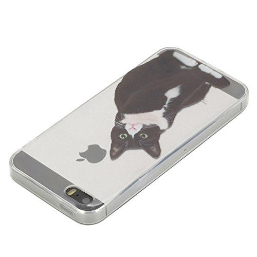 iPhone 5S Hülle, iPhone SE Hülle, Gift_Source [ Schwarze Katze ] Hülle Case Transparent Weiche Silikon Schutzhülle Handyhülle Schutzhülle Durchsichtig TPU Crystal Clear Case Backcover Bumper Case für  E1-Schwarze Katze