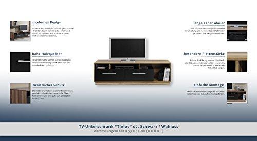 """TV – Unterschrank """"Tinlot"""" 07, Schwarz / Walnuss – Abmessungen: 180 x 53 x 50 cm (B x H x T) - 2"""