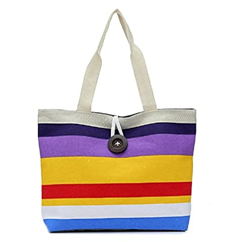 Fami Fashion Lady shopping Stripe épaule sac fourre-tout (Violet)