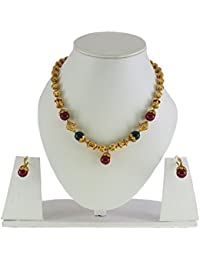 Veechi Jewellery Exclusive Green And Maroon Ruby Temple Design Chain/Necklace Set With Earrings For Women And...