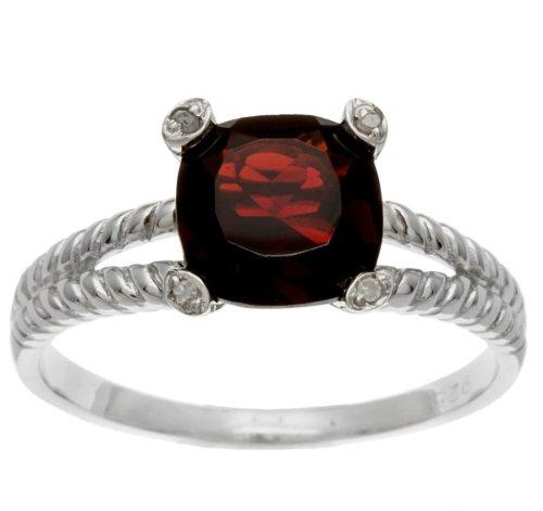 26-ct-cojin-garnet-autentica-de-y-anillo-de-diamante-en-cuerda-plata