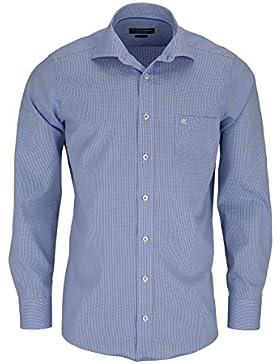 CASAMODA Comfort Fit Hemd extra langer Arm Karo Popeline blau AL 69