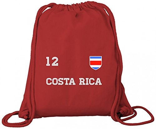 ShirtStreet Fußball WM Fanfest Gruppen Premium Bio Baumwoll Turnbeutel Rucksack Stanley Stella Trikot Costa Rica, Größe: onesize,Red -