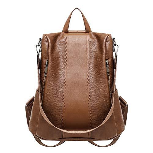 BPYYY Rucksack Weiblichen Koreanischen Version des Wilden Casual Dual-Use-Tasche Aus Weichem Leder Tasche Mit Großer Kapazität Reiserucksack,Brown - - Brown-leder-gepäck