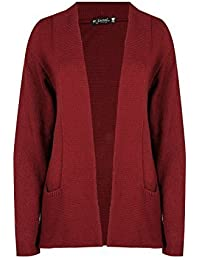 Be Jealous Womens Fine Knit Stretchy Jumper Ladies Warm Plain Open Front Cardigan Top