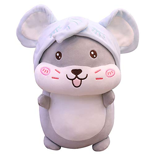 LMJ Outsider Plüschtier Puppe, mollig süß mit Hut in Hamster Plüsch Kissen Spielzeug verwandelt,Grau,40cm -