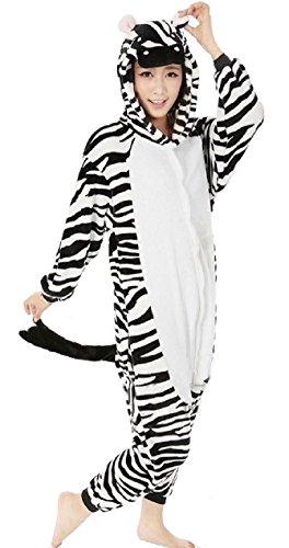 Erwachsene Kostüme (Nicetage Cosplay Onesie Jumpsuits Anime Kostuem Erwachsene Pyjama Overall Hausanzug Kigurum Zebra)