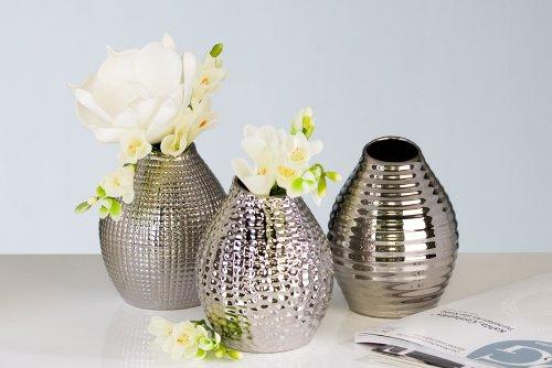 Decorativa jarrón plateado Casablanca cubes 3 jarrones