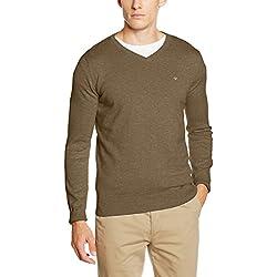 TOM TAILOR Herren Pullover Basic v-Neck Sweater, Beige (Bird-Nest Beige 8725), Medium