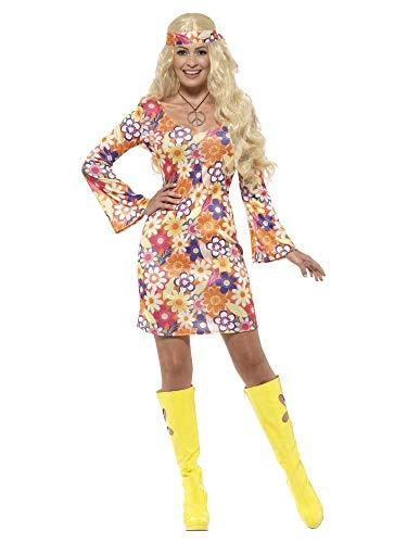 shoperama Hippie Damen Kostüm Blumen Kleid Stirnband und Kette 60er 70er Jahre, - 60er Jahre Motto Party Kostüm
