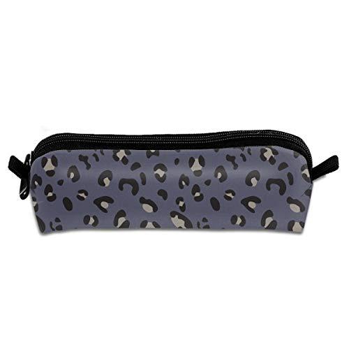 Africa Africa Leopard Print Blue Black Taupe Pencil Pouch Bag Stationery Pen Case Makeup Box with Zipper Closure 21 X 5.5 X 5 cm -