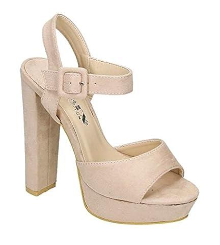Damen Riemchen Abend Sandaletten High Heels Pumps Slingbacks Velours Peep Toes Party Schuhe Bequem 07-2 (36,