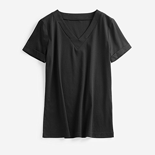 Personalisierte Schnitt, 70 Doppelseitige Stretch Mercerized Cotton, 4-Farbig V-Kragen, Kurzarm, Self-Cultivation T-Shirt, Frau Sommer, M, Schwarz (Schwarzes Doppelseitiges T-shirt)