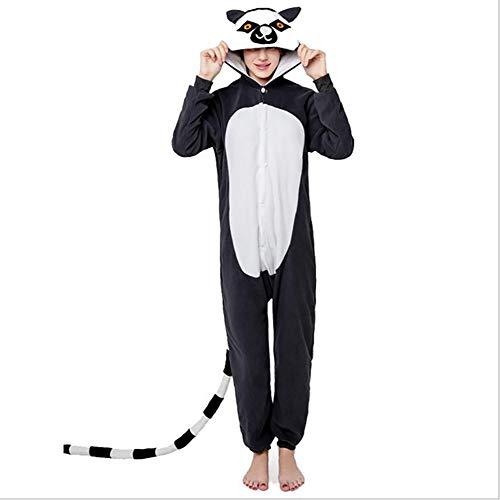 SHANGXIAN Frauen Onesies Lemur Pyjamas Tier Cosplay Kostüm Polar Fleece Herbst Und Winter Nachtwäsche ()