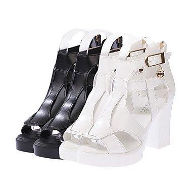LvYuan Damen-Sandalen-Kleid Lässig-PU-Blockabsatz-Komfort-Schwarz Weiß Black