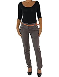 Femmes Pantalon Business Ceinture Taille Basse Pantalon en Tissu Élégant  Classic Stretch 199416b5f4ba