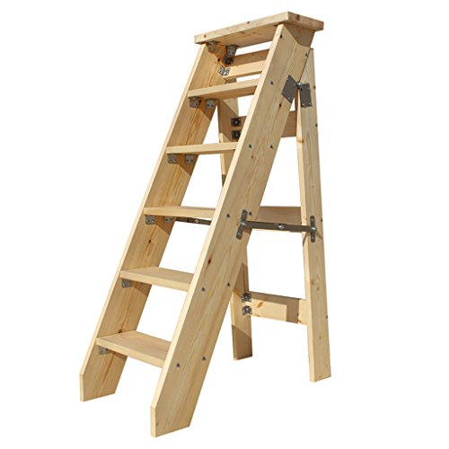 PENGFEI Pliable Stool Ladder Multifonction Usage Double 6 Étapes Bois Massif 3 Couleurs, 40 * 78 * 120 CM ( Couleur : Varnish color )