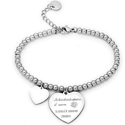 Beloved ❤️ braccialetto da donna, bracciale in acciaio emozionale - frasi, pensieri, parole con charms - ciondolo pendente - misura regolabile - incisione - argento (mod 14)