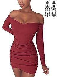 080f12c686426 CARINACOCO Mujer Verano Vestidos Delgado Mangas largas de Off Shoulder  Cóctel Fiesta Vestido de Noche