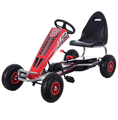 Lvbeis Kids Go-Kart-Fahren Mit Handbremse Tretauto Indoor Outdoor Tretfahrzeug Verstellbarer Kettcar Sitz FüR 5 Bis 15 Jahre,red