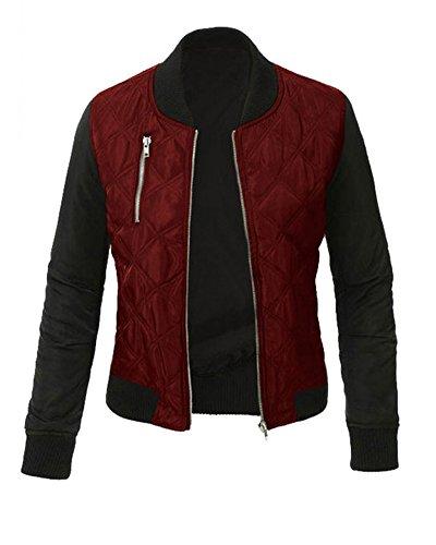Minetom Damen Frühlings Mode Stylisch Jacke Kunstleder Tops Coat Reißverschluss Bomberjacke Bikerjacke Motorradjacke Weinrot DE 38 (Lightweight T-shirt Mens Erwachsene)