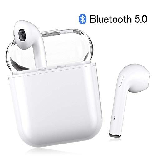 TZSCTCJ Auricolari Bluetooth 5.0, Cuffie Bluetooth Sport Wireless Mini Stereo Cuffie Wireless Senza Fili, 20H in-Ear Auricolare Stereo Microfono Incorporato per iPhone Samsung Huawei (Bianco)