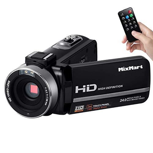 "Videokamera Camcorder, MixMart Digitalkamera 1080P Full HD 30FPS 24MP Digitalzoom 16X mit IR-Nachtsicht Fernbedienung 3.0"" LCD-Touchscreen Bildschirm 270 Grad drehbar Digitalrekorder DV Kamera"