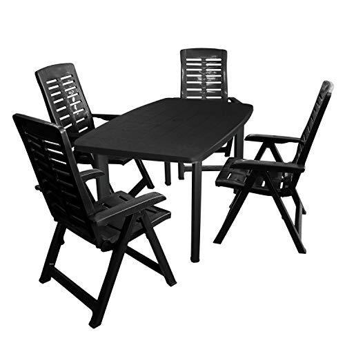 Gartenmöbel-Set Gartentisch, Kunststoff Anthrazit, 101x68cm + 4X Klappsessel, Kunststoff Anthrazit, 5-Fach verstellbar