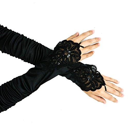 HUELE Opera Handschuhe Lang Handschuh Zubehör Flapper Kostüm Braut Fingerlose Handschuhe für Frauen Brüllender Zubehör Classic Satin Ellenbogen Länge Handschuhe (Schwarz) (Frauen Flapper Kostüme)
