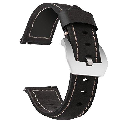 Greatfine 22mm Leder Uhr Armband für Samsung Gear S3 Frontier, Gear S3 Classic, Huawei Watch 2 Classic, Moto 360 2nd Gen 46mm Uhrenarmband Ersatzband Sportarmband Zubehör (Black, 22mm)