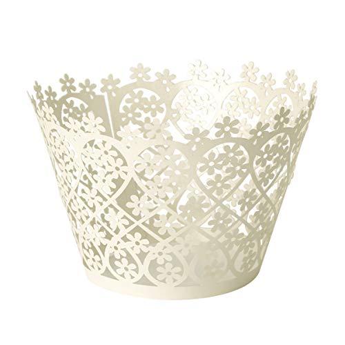 Anladia 24xIvory Laser Cut Blume Form Kuchen Cupcake Wrapper Verpackung Dekoration Muffin Hülle Muffinförmchen Papierförmchen für Hochzeit Party Dekoration