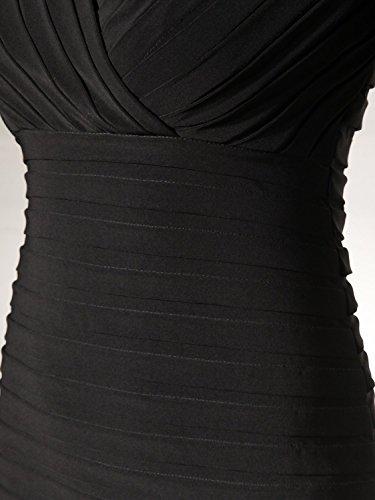 Bbonlinedress Robe d'affaires gaine d'affaires style formel tunique moulante bureau robe de soirée automne rétro col en V-Bleu Marine