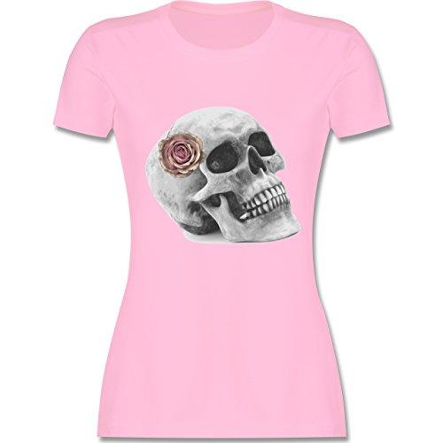 Kostüm Elf Night Men's - Halloween - Totenkopf Rose Vintage Skull - XL - Rosa - L191 - Damen Tshirt und Frauen T-Shirt