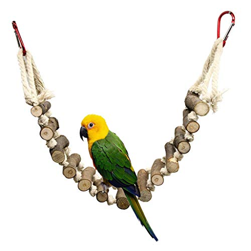 DQANIU ❤️❤️ Vogel Spielzeug Hängende Schaukel Holzbrücke Molar String Herumsuchen Stern Vogel Papageien Spielzeug -