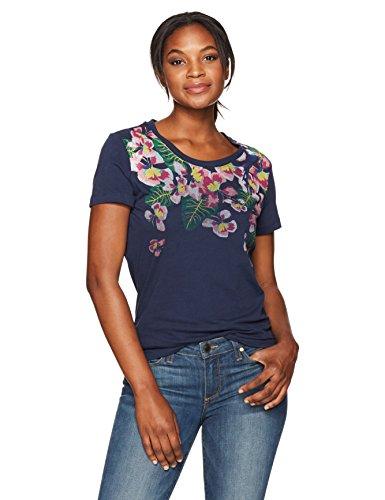 Margaritaville Damen Short Sleeve Tropical Parrot Crew Neck T-Shirt, Dunkles Marineblau, Klein - Dunkel Blau Grafik T-shirt
