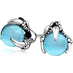 Bling Jewelry simulada de vidrio topacio azul Orb Dragon Claw Mens acero espárragos