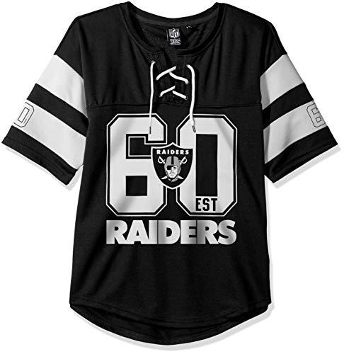 Icer Brands NFL Oakland Raiders Damen Hockey-T-Shirt, Netzstoff, Spitze, Größe XL, Schwarz -
