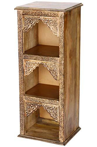 Regal aus Holz massiv schmal in Braun Asmara 87cm hoch für Bad oder Küche | Braunes Standregal ohne bohren für Badezimmer | schmales Raumteiler Wandregal für Bücher cd DVD im Wohnzimmer