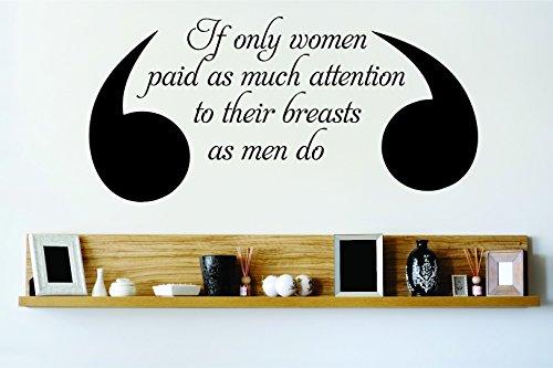 """Design mit Vinyl Rad 9693Wenn nur Frauen so viel, wie Aufmerksamkeit zu Ihrer Brust wie Herren 's Do Brustkrebs Bewusstsein Motivational inspirierendes Zitat Wand Aufkleber 16 x 24"""" schwarz"""