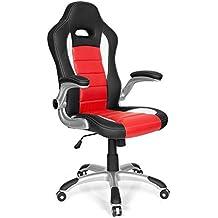 HJH Office - 621889 silla de gaming RACER SPORT piel sintética rojo / negro, alta calidad, con apoyabrazos plegables, muy cómodo, respaldo inclinable, fácil de limpiar, buen acabado, silla oficina, silla racing