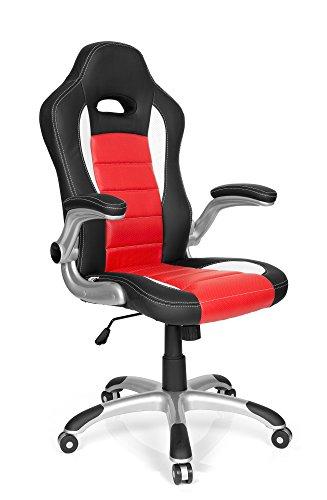 Hjh office 621889 sedia da gaming racer sport similpelle nero/rosso, schienale alto, ideale per giocatori, braccioli ribaltabili verso l'alto